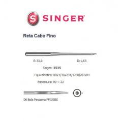 Agulha de Maquina Singer para Costura 1515 Nº10 Reta Cabo Fino /10unid