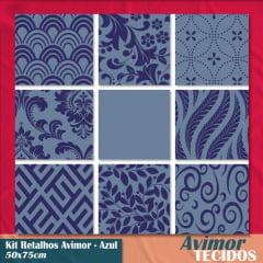 Kit 9 Retalhos Tricoline Must Have Azul 50x75