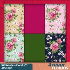 Kit Retalho Tricoline Floral 1 - 30x50