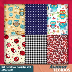 Kit Retalho Tricoline Cozinha 3 50x75