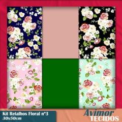 Kit Retalho Tricoline Floral 3 - 30x50
