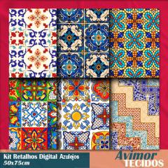 Kit Retalhos Digital Azulejos  - 50x75