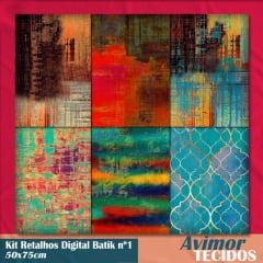 Kit Retalhos Digital Batik 1  - 50x75