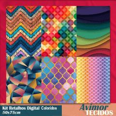 Kit Retalhos Digital Coloridos  - 50x75