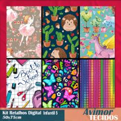 Kit Retalhos Digital Infantil Feminino 50x75