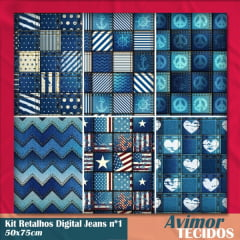 Kit Retalhos Digital Jeans 1 - 50x75