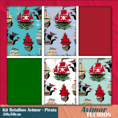 Kit Retalho Tricoline Piratas (30 x 50cm)