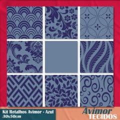 Kit 9 Retalhos Tricoline Must Have Azul 30x50
