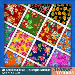 Kit Retalhos Chitão Estampas Variadas 0,50x1,40cm