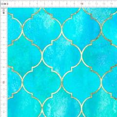 Sarja Estampada Impermeável Geométrico Vintage Marroquino Azul Tifanny 9100e4916