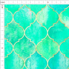 Sarja Estampada Impermeável Geométrico Vintage Marroquino  Verde Claro 9100e4915