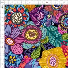 Sarja Estampada Impermeável Floral Desenhado Colorido 9100e4893