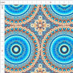 Sarja Estampada Impermeável Mandalas Mosaico Azul Claro 9100e4613