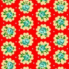 Tecido Chitão Estampado 100% algodão Floral Amarelo Fundo Vermelho 2687v1