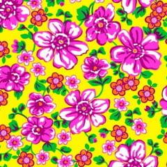 Tecido Chitão Estampado 100% algodão Floral Rosa Fundo amarelo 2599v1