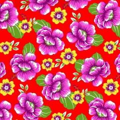 Tecido Chitão Estampado 100% algodão Floral Rosa Fundo Vermelho 2690v2