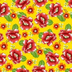 Tecido Chitão Estampado 100% algodão Floral Vermelho Fundo Amarelo 2690v1