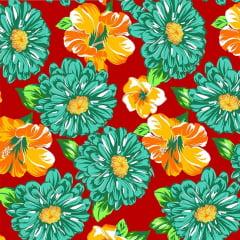 Tecido Chitão Estampado Floral  100% Algodão 2507v2
