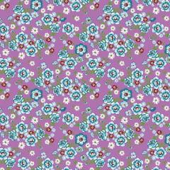 Tecido Chitão Estampado Floral  Azul Fundo Lilás 2691v1
