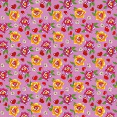 Tecido Chitão Estampado Floral  Com Coração Fundo Rosa 2692v1