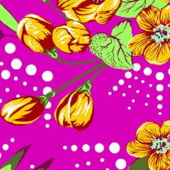 Tecido Chitão Estampado Floral Laranja e Rosa  100% Algodão 2503v2