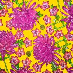 Tecido Chitão Estampado Floral Pink Fundo amarelo 100% Algodão 2705v2