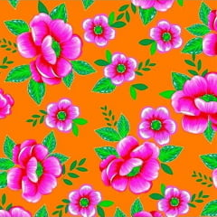 Tecido Chitão Estampado Floral Rosa e Laranja 100% Algodão 2506v1