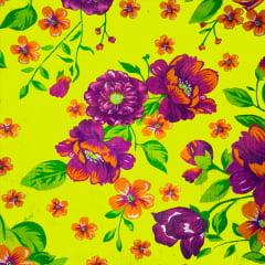 Tecido Chitão Estampado Floral Rosa Folhas e Fundo Amarelo 2614V3