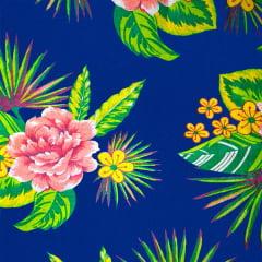 Tecido Chitão Estampado Floral Rosa Fundo Azul Escuro 2612V3