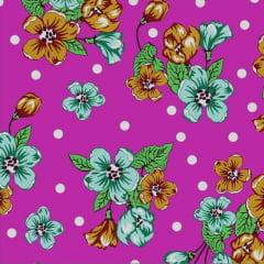 Tecido Chitão Estampado Floral Verde Fundo Rosa e Bolinha Branca  2600v1