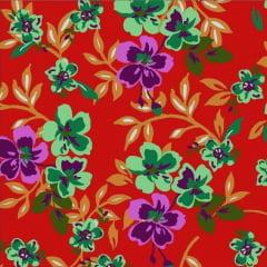 Tecido Chitão Estampado Floral Verde Fundo Vermelho 2601v2