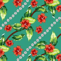 Tecido Chitão Estampado Floral Vermelho Branco e Verde 2830v2