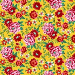 Tecido Chitão Estampado Floral Vermelho e Amarelo 2838v1