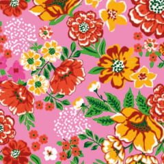 Tecido Chitão Estampado Floral  Vermelho e Amarelo Fundo Rosa 2689v1
