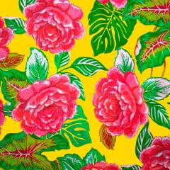 Tecido Chitão Estampado Floral Vermelho Fundo Amarelo 100% Algodão 2704v1