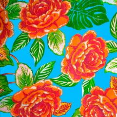 Tecido Chitão Estampado Floral Vermelho Fundo Azul 100% Algodão 2704v2