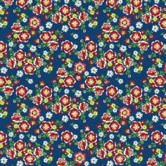 Tecido Chitão Estampado Floral  Vermelho Fundo Marinho 2691v2