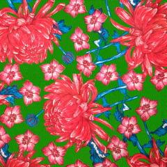 Tecido Chitão Estampado Floral Vermelho Fundo Verde 100% Algodão 2705v3