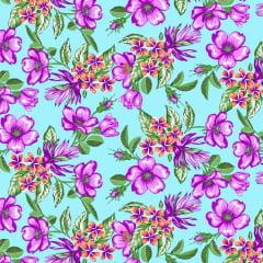 Tecido Chitão Estampado Floral Violeta e Azul 2834v1