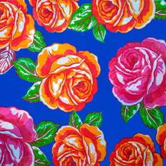 Tecido Chitão Estampado Rosas Laranja e Rosa Fundo Azul 2701v1