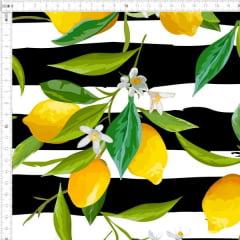 Tecido Tricoline Digital Limão Siciliano Fundo Listrado 9100e2494