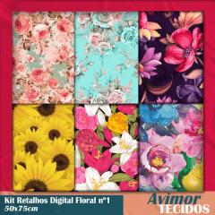 Kit Retalhos Tricoline Digital Floral 1 - 50x75