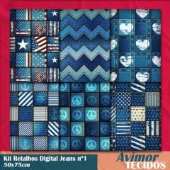 Kit Retalhos Tricoline Digital Jeans 1 - 50x75