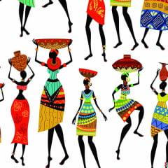 Tecido Tricoline Digital Africanas Fundo Branco 9030e037