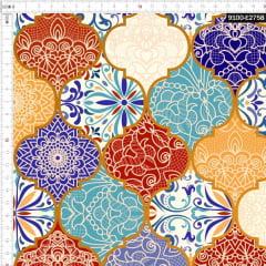 Tecido Tricoline Digital Arabesco Vintage 9100e2758