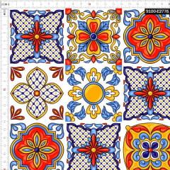 Tecido Tricoline Digital Azulejo Português Elementos 9100e2776