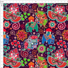 Tecido Tricoline Digital Elefante Indiano 9100e2581