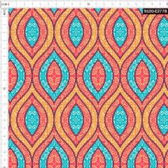 Tecido Tricoline Digital Arabesco Floral 9100e2778