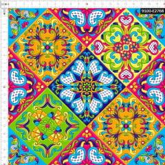 Tecido Tricoline Digital Azulejo Cerâmica Floral Mexicana 9100e2768