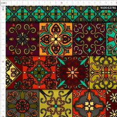 Tecido Tricoline Digital Azulejo Marroquino 9100e2781